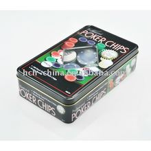 100 Pcs Poker Set Tin Box Texas Holdem Poker Chip Set