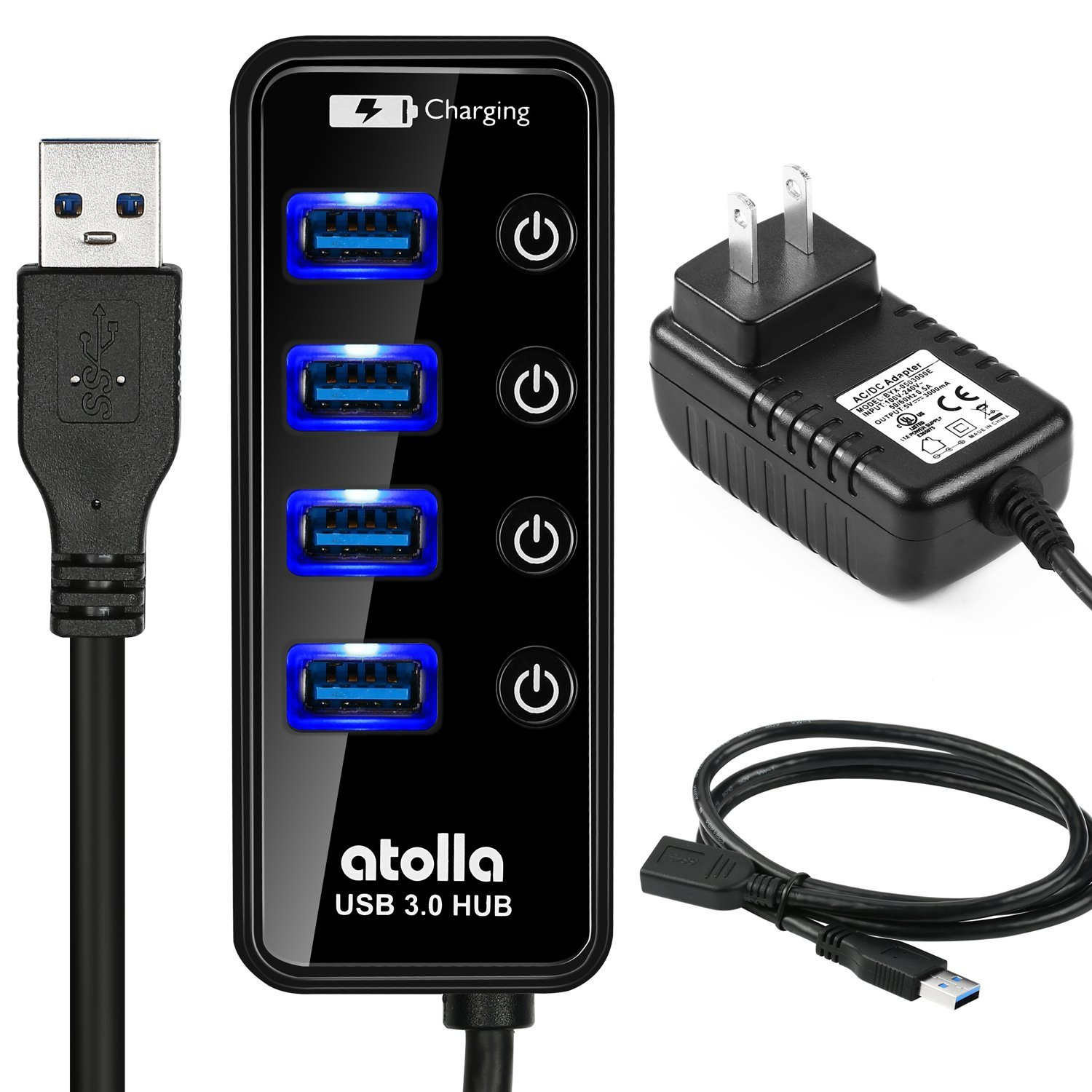 Powered USB Hub, atolla USB 3.0 Hub 4 + 1 Data Transfer and Charging Multiport with 15W (5V/3A) Power Supply Adapter and 3.3ft Meter USB 3 Extension Cable