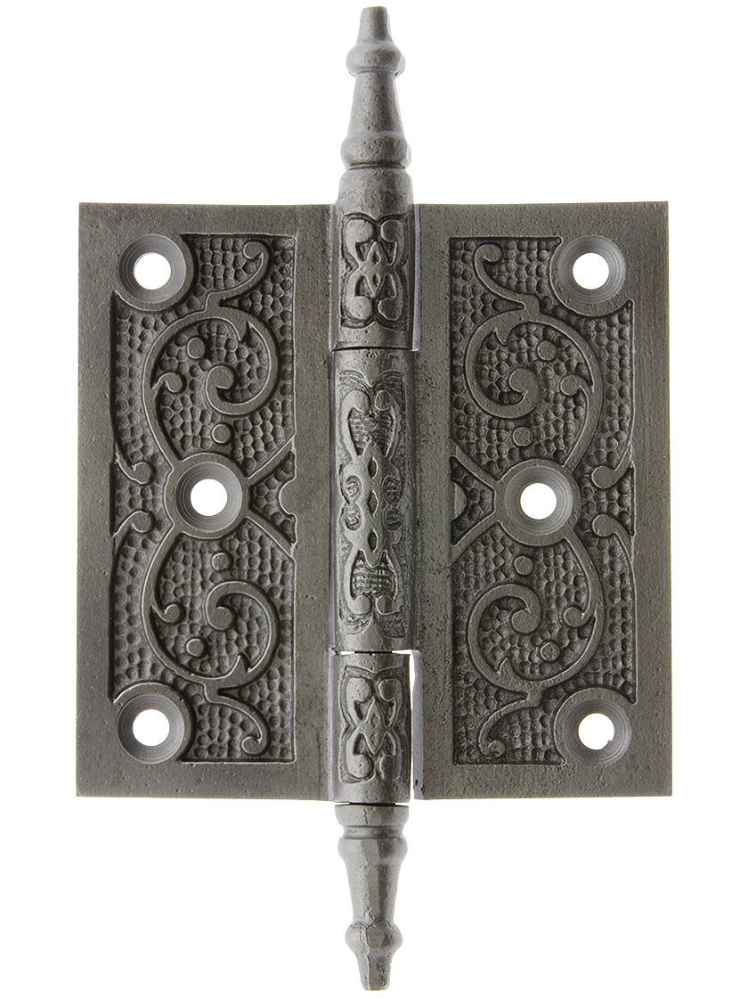 House of Antique Hardware R-04DE-200-AI Cast Iron 3 1/2 Steeple Tip Hinge with Decorative Vine Pattern in Antique Iron