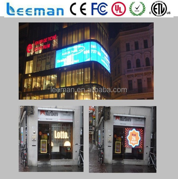 Leeman grupo New design transparente led rgb janela de vidro display led display / janela de vidro de vidro transparente de vídeo tela led
