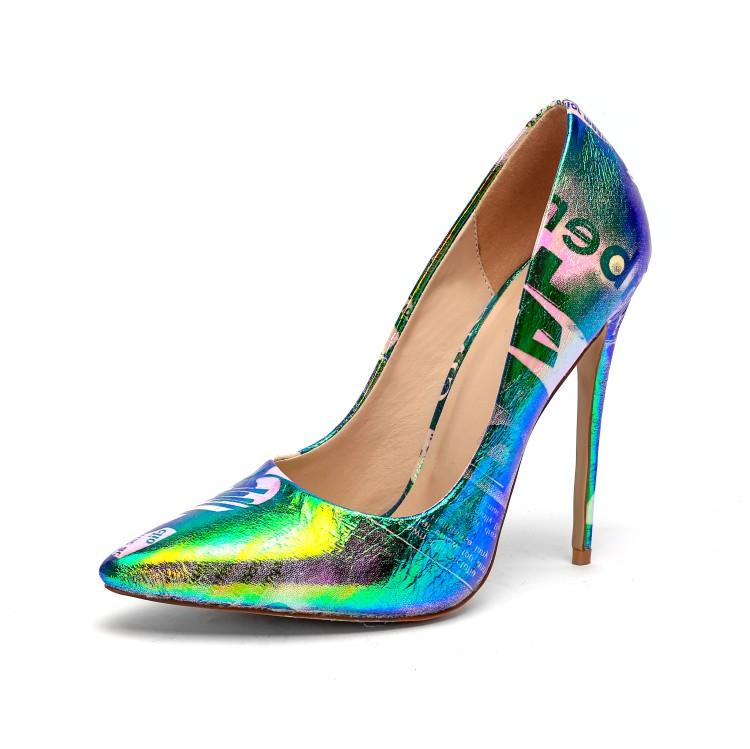 แบรนด์ที่กำหนดเองโลโก้ขนาดใหญ่ตื้นเซ็กซี่ 12 ซม. stiletto ส้น pu หนังสุภาพสตรีปั๊มรองเท้าผู้หญิง