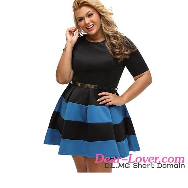 db67f1e2b23 Plus Size Sexy Royal Blue Stripes Detail Belted Short Fat Women Dress
