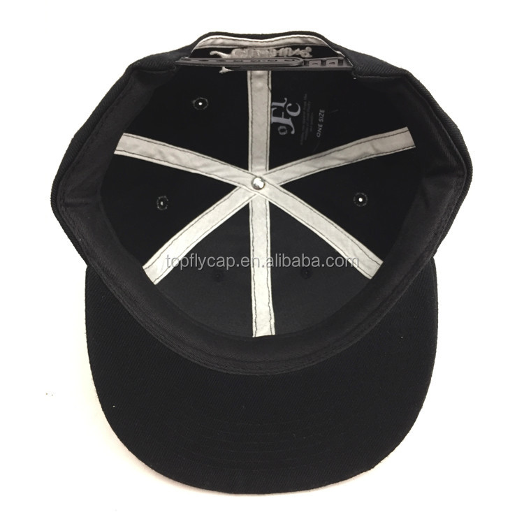 Bboy Style Custom 3D Embroidery Black Hip Hop Snapback Caps
