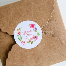 Wholesale thank you small pure and fresh printing sealing 10pcs Colorful flowers circle creative decoration label seal sticker