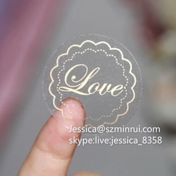 Professional Factory Custom Self Adhesive Waterproof Logo Packaging Circle  Sticker Clear Gold Foil Stickers