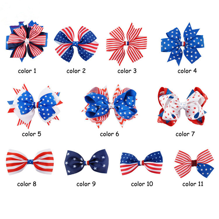 fashion Ribbon American Flag Hair Bow Wholesale Baby Girl Clip