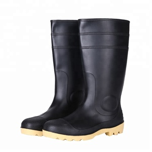 Black color cheap steel toe safety work rain boots