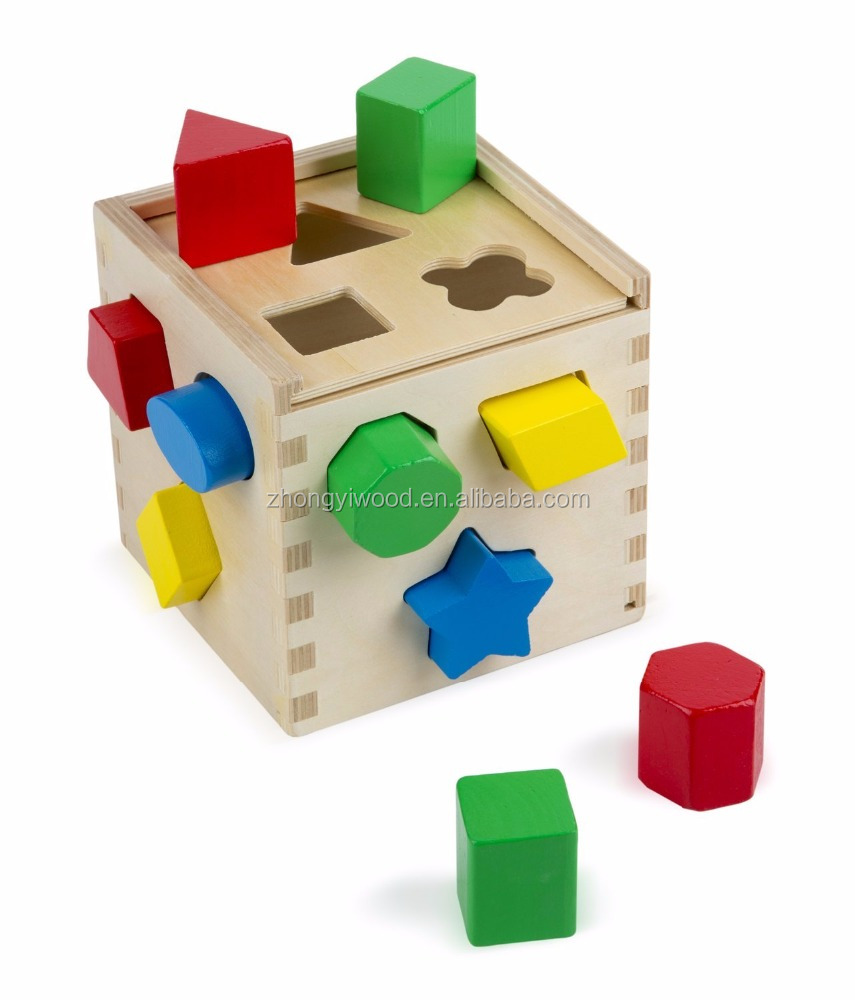 BSCI and FSC certificated Sorting Cube Classic Wooden Toy With 13 Shapes