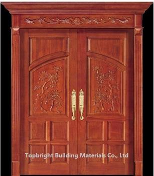 Best exterior solid teak double wood main door design for Teak wood doors models