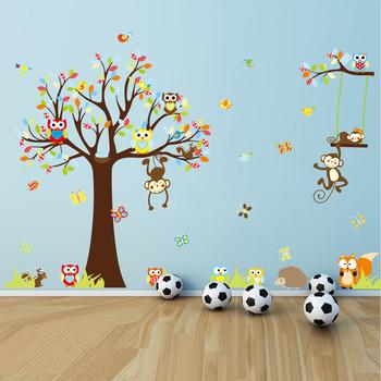 Sticker Boom Kinderkamer.Verwijderbare Kinderkamer Uil Aap Boom 5d Home Decor Pvc Muursticker