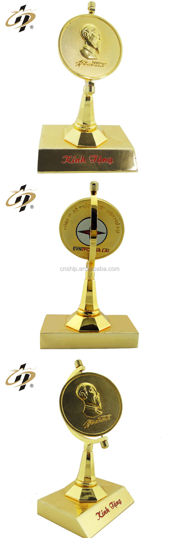 Free sample custom alloy cheap Ho Chi Minh metal trophy for souvenir