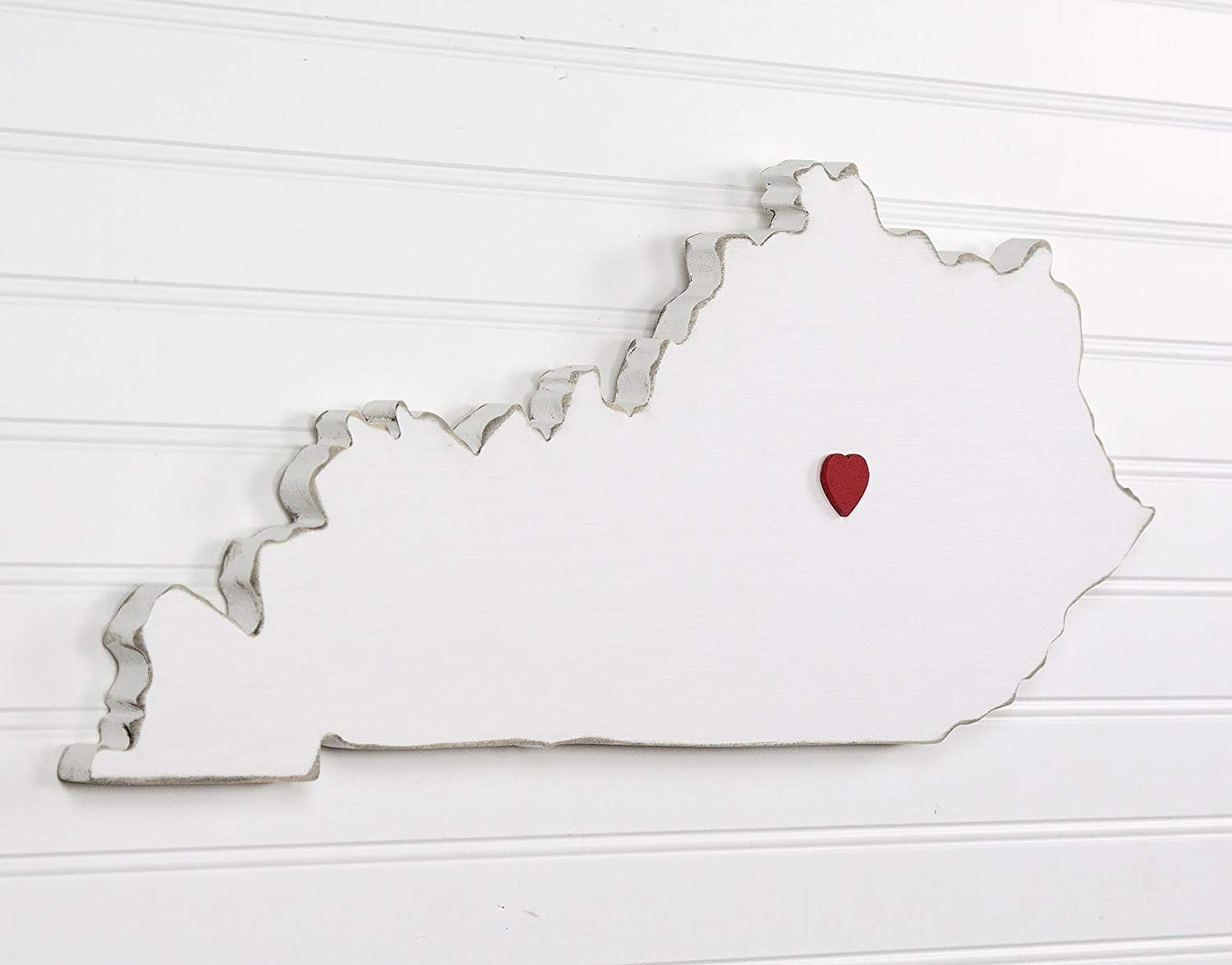 "Kentucky State Shape Wood Cutout Sign Wall Art. 20"" wide. 20 Paint Colors. Personalized with Choice of Wooden Dimensional Heart or Star at Hometown Location."
