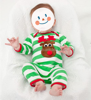 Baby boys green stripes Christmas rompers wholesale infant boy boutique reindeer applique clothes
