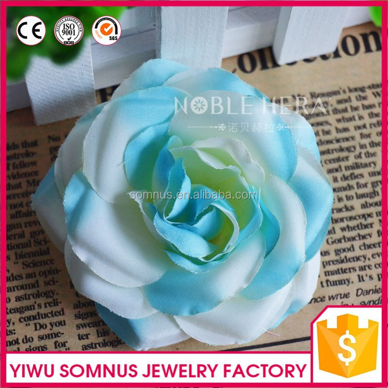 Double color printed artificial fabric rose flower head/rose flower head/diy flower head wreath