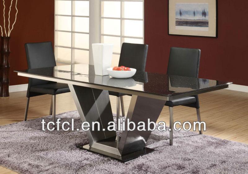 de acero inoxidable moderna mesa de comedor con el vidrio