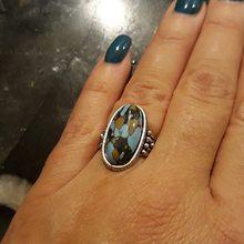 Ретро панк персонализированные Бохо кольцо ювелирные изделия Винтаж Тибетский античный серебряный цвет бирюзовый камень кольцо для мужчи...(Китай)