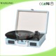 Old portable turntable player vinyl records play stand musical box