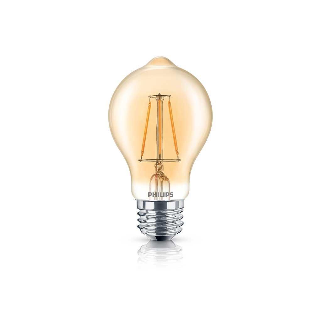 Philips 461665 LED A19 Non-Dimmable 350-Lumen, 2000-Kelvin, 4.5-Watt (60-Watt Equivalent) Vintage Filament Light Bulb with E26 Medium Base, Soft White, 1-Pack