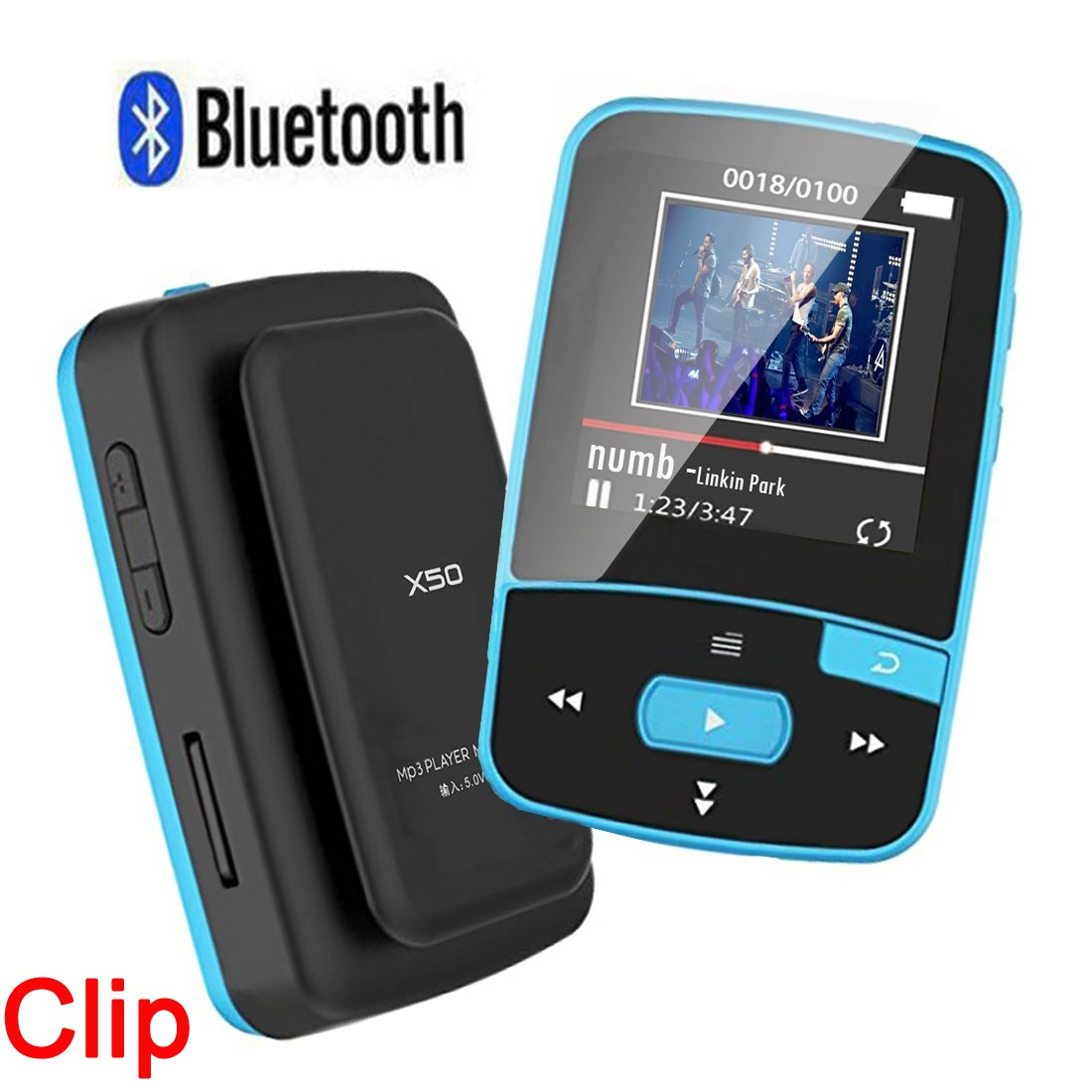 HONGYU RX50 8GB Clip Sport Bluetooth MP3 Player for Running with Clip+ MP3 FM Radio Record Lossless Sound Portable Music Player (Support up to 64GB- Blue)
