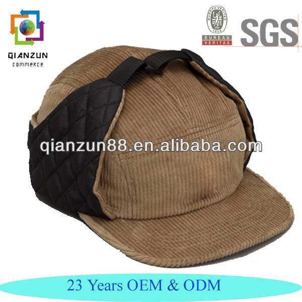 Corduroy Hat Ear Flaps 5 Panel Camp Cap