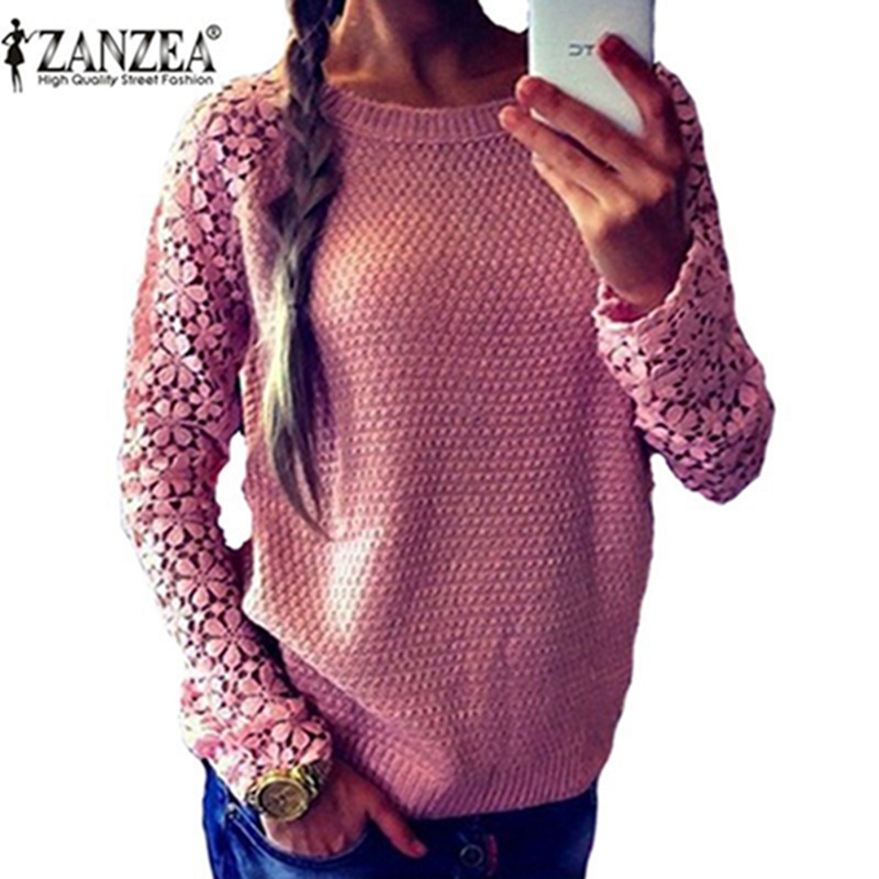 ZANZEA Spring Autumn Fashion Women 2016 Long Sleeve Lace Patchwork Casual Pullover Ladies Sweaters Plus Size
