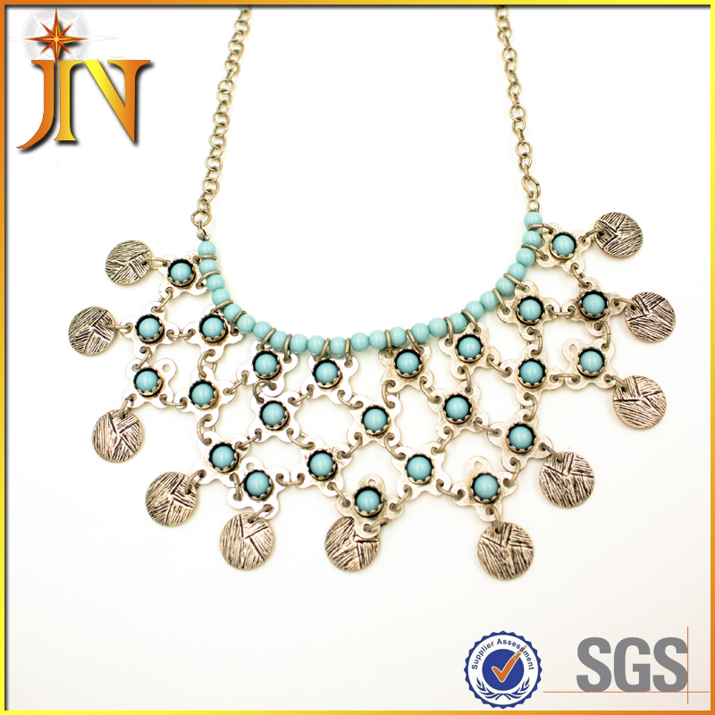 EN0002 JN Bohemia Gypsy Chic Vintage Necklace Carving Coin Tassels Beach Statement Necklaces & Pendants shourouk Jewelry