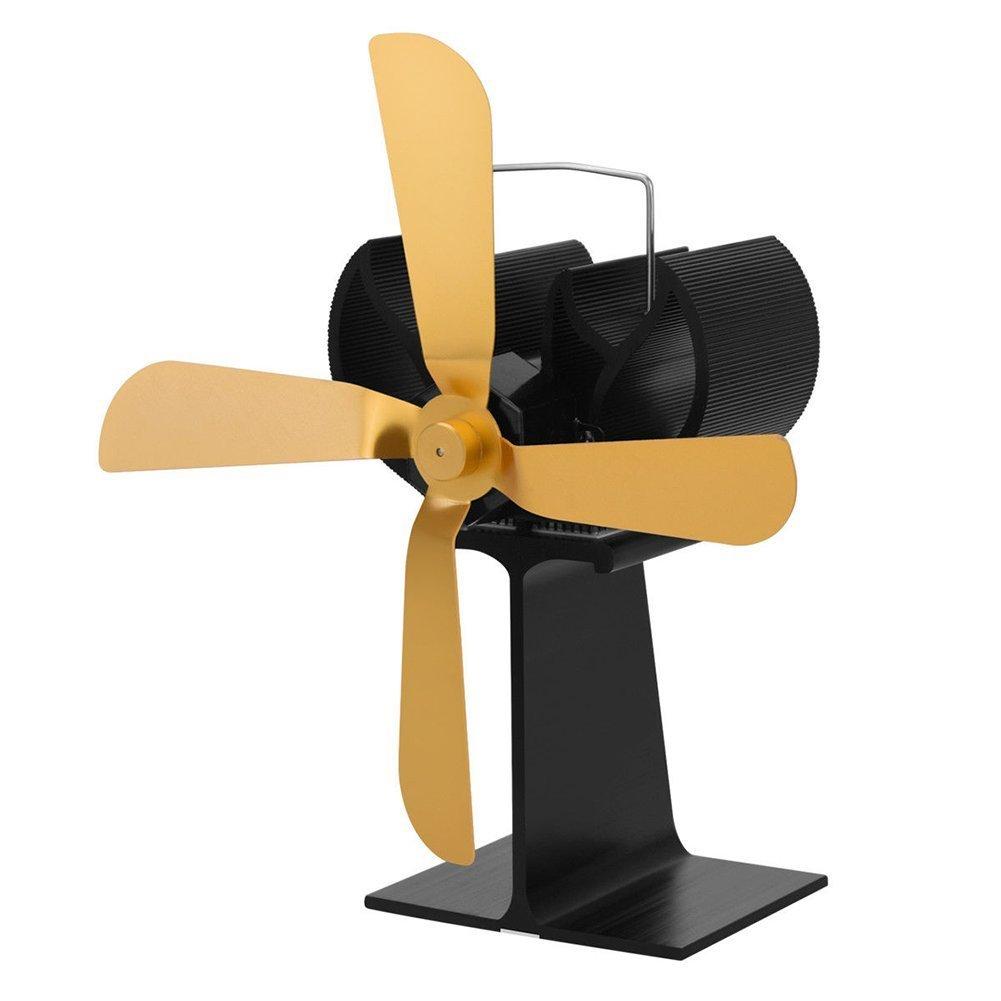 Maikerry Wood Stove Fan Fireplace Fan Heat Powered Stove Fan Eco-friendly Stove Fan Golden
