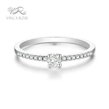14k Solid White Gold Ring Set Genuine Diamond Engagement Ring