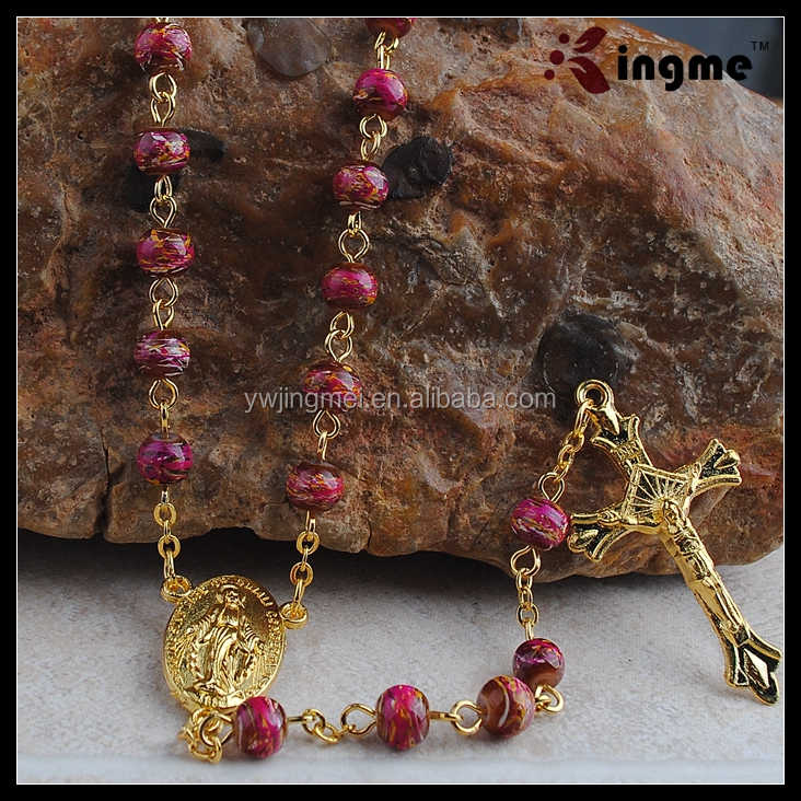 Clear matte glass bicone rosary beads Our Lady center 6mm gold chain and cross