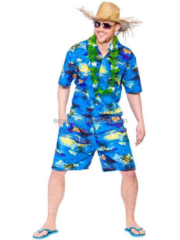 2c64f3a45225 Adult Mans Hawaiian Beach Party Blue Palm Fancy Dress Costume Luau Tropical  Aloha Costumes BMG20169