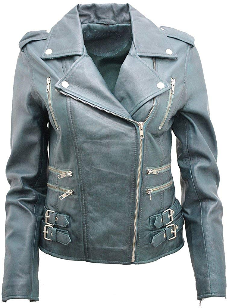 Ladies Teal Real 100% Lamb Nappa Leather Biker Jacket