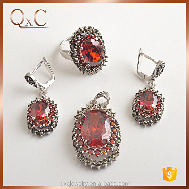 New exclusive design thai silver ruby heavy indian bridal jewelry sets turkish jewelry