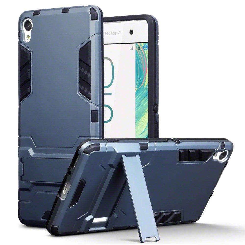 Xperia XA Case - Terrapin Sony Xperia XA Cover - Full Body Shock Resistant Armor Case - High-Tech Look - Dual Layer - Kickstand - Dark Blue