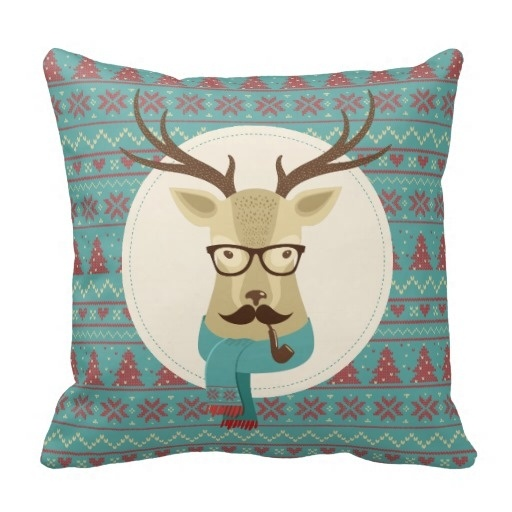Lazy Holiday Hipster Deer Mustache Glasses Pipe Pillow Case (Size: 20