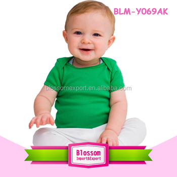 Newest design infant rib short sleeve new model shirts boys cute cheap dark green lap shoulder plain kids tops for 0-6 years old