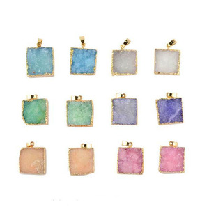 Natural Druzy Stone Square Shape Pendants Charms 20mm Crystalline Germ Druse Natural Stone Necklace Bracelet Earrings Pendants