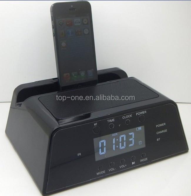 lcd screen fm radio alarm clock bluetooth speaker with docking station for ap. Black Bedroom Furniture Sets. Home Design Ideas