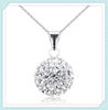 18'' length chains hotsale item stainless steel silver crystal ball necklace