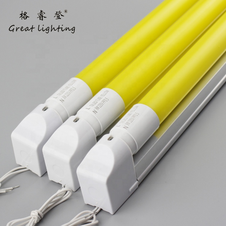 110 V o 220 V 60 cm de longitud led anti-mosquito no tubo uv de luz T8 Serie 9 W color amarillo