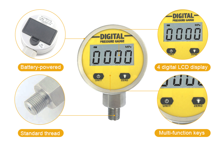 MD-S260 0-250Bar digital pressure gauge with high accuracy