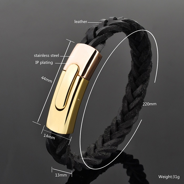 Ally Express Wholesale Mens Braided Leather Bracelet Engravable