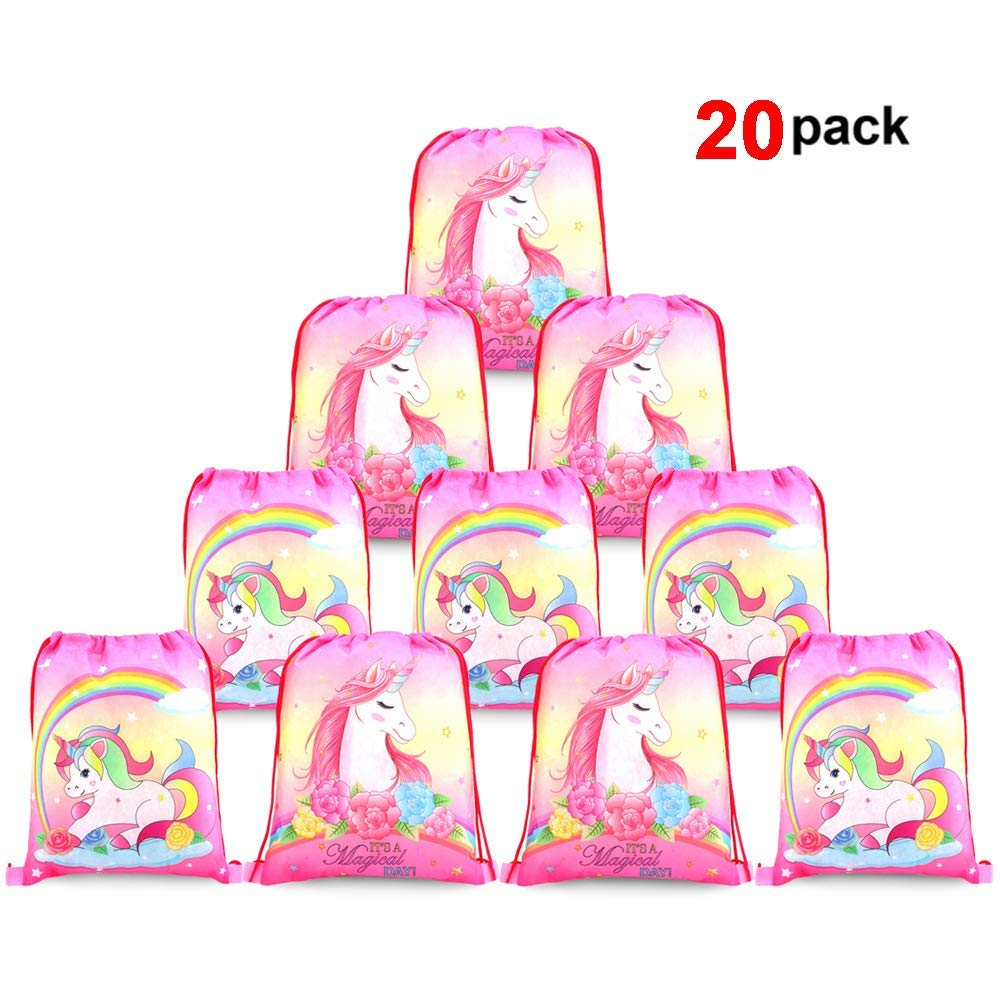 Get Quotations Konsait Cute Unicorn Drawstring Backpack Bags For Kids Girls Gift Treat Goody Birthday Party Favor