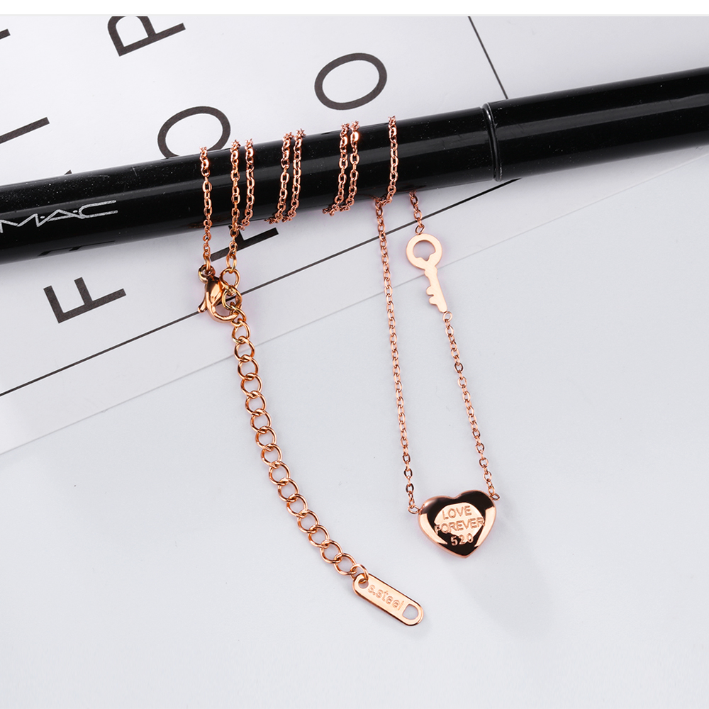 Albaba Wholesale Girl Cute Jewelry Rose Gold Charm Necklace Heart