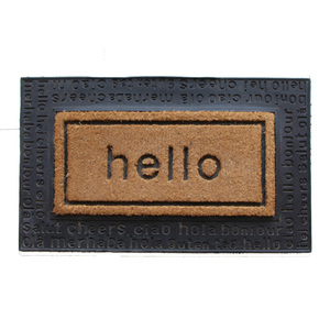 Hello embossed dedusting custom rubber backing black lacy coco coir entrance door mat