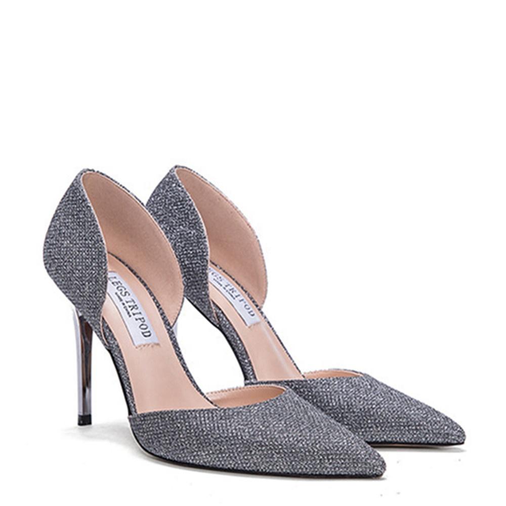 610f40e2a Private Label Prata Feminino Fino Salto Alto Sapato De Casamento De Cristal  De Noiva Mulheres Vestido