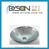 BYSON BB103 Taiwan Faucet Manufacturer Tempered Glass Rectangular Round Leaf Countertop Bathroom Basin