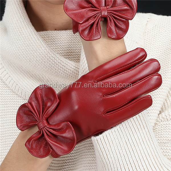 Hot Selling Fancy Thick Winter Women Fake Leather Gloves