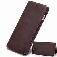 Ultra Slim Flip phone Case for iPhone X Genuine Leather Luxury Cases phone Cover for iPhone 8 Wallet case with Standing function