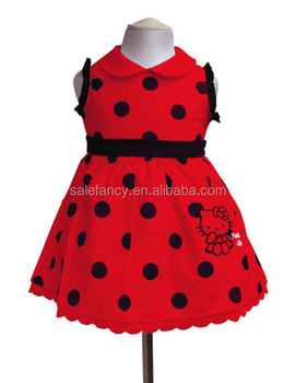 83ff2248f Red color with black dot hello kitty dress flower fancy dress costumes baby  girl princess dresses