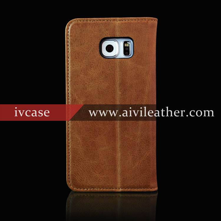 Nature genuine head layer cow phone covers for leather wallet samsung galaxy s7 case
